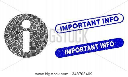 Mosaic Info And Corroded Stamp Seals With Important Info Text. Mosaic Vector Info Is Created With Ra