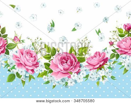 Vintage Floral Seamless Border With Flowers Of Pink Roses, Light Phloxes, Tender White Gypsophila, B