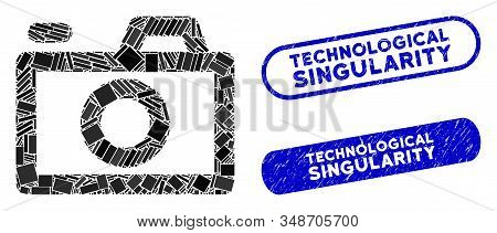 Mosaic Camera And Rubber Stamp Seals With Technological Singularity Caption. Mosaic Vector Camera Is