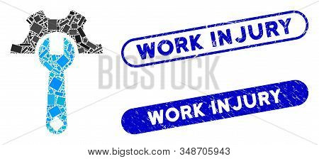 Mosaic Service Tools And Grunge Stamp Seals With Work Injury Caption. Mosaic Vector Service Tools Is