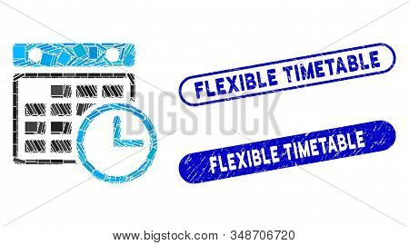 Collage Timetable And Grunge Stamp Seals With Flexible Timetable Caption. Mosaic Vector Timetable Is
