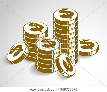 Coin Stack Cash Money Or Casino Chips Still-life, Vector Icon, Illustration Or Logo, Revenue Or Taxe