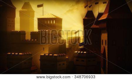 Medieval Castle In The Gold Sunshine. History Fortress Under The Golden Sunrise. 3d Illustration.