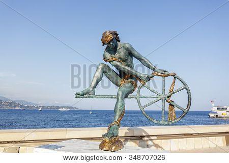 Monaco City, Monaco - 07 July, 2015: Bronze Sculpture Of The Greek Hero Ulysses - By Anna Chromy.  M