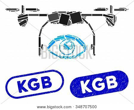 Mosaic Eye Spy Drone And Grunge Stamp Seals With Kgb Phrase. Mosaic Vector Eye Spy Drone Is Created