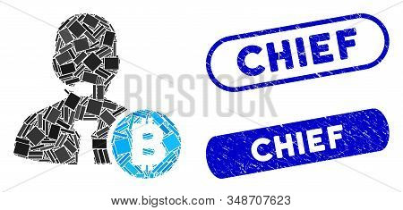 Collage Bitcoin Call Operator And Grunge Stamp Seals With Chief Text. Mosaic Vector Bitcoin Call Ope