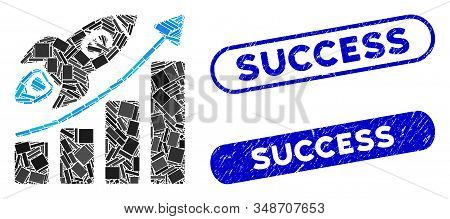 Mosaic Euro Success Business Start And Grunge Stamp Seals With Success Text. Mosaic Vector Euro Succ