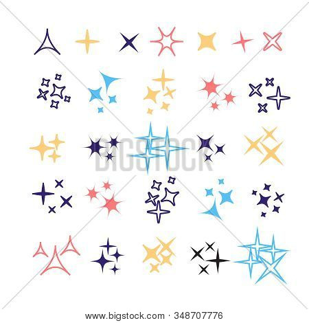 Sparkles, Glowing Light Effect Stars And Bursts. Bright Firework, Decoration Twinkle, Shiny Flash