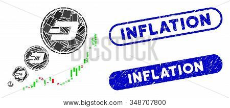 Collage Dashcoin Inflation Chart And Grunge Stamp Seals With Inflation Phrase. Mosaic Vector Dashcoi