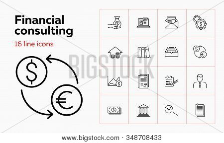 Financial Consulting Line Icon Set. Advisor, Analysis, Money. Finance Concept. Can Be Used For Topic