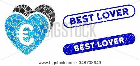Mosaic Euro Favorites Hearts And Distressed Stamp Seals With Best Lover Text. Mosaic Vector Euro Fav