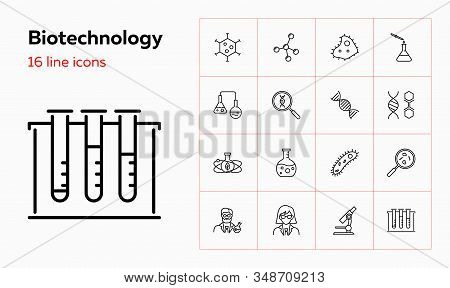 Biotechnology Icons. Set Of Line Icons On White Background. Scientist, Dna Structure, Microscope. Ve