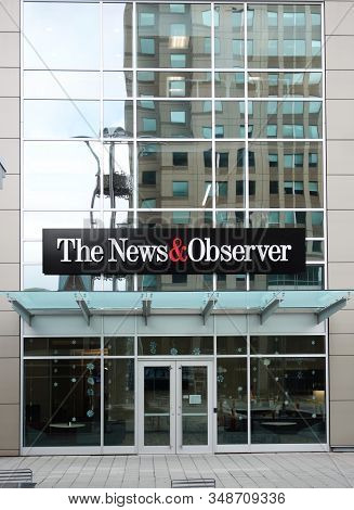 Raleigh,nc/usa - 01-25-2020: The News And Observer Newspaper Offices On Fayetteville Street In Downt