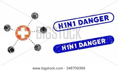 Mosaic Health Care Links And Corroded Stamp Seals With H1n1 Danger Caption. Mosaic Vector Health Car