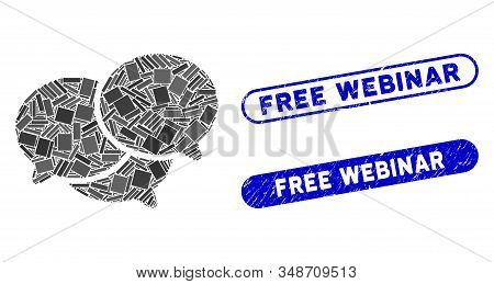 Mosaic Webinar And Distressed Stamp Seals With Free Webinar Phrase. Mosaic Vector Webinar Is Compose