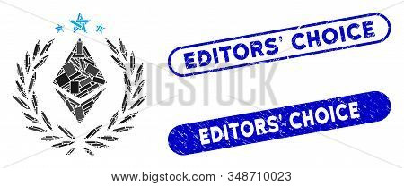 Mosaic Ethereum Laurel Wreath And Corroded Stamp Seals With Editors Choice Phrase. Mosaic Vector Eth