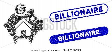 Mosaic Realty Piggy Bank And Rubber Stamp Seals With Billionaire Caption. Mosaic Vector Realty Piggy