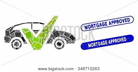 Mosaic Car Test And Rubber Stamp Seals With Mortgage Approved Caption. Mosaic Vector Car Test Is Des