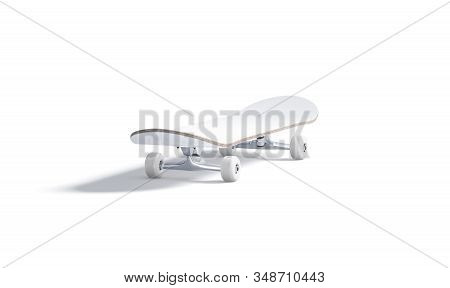 Blank White Wood Skateboard With Wheels Mockup, Isolated, 3d Rendering. Empty Skating Timber Old Cul