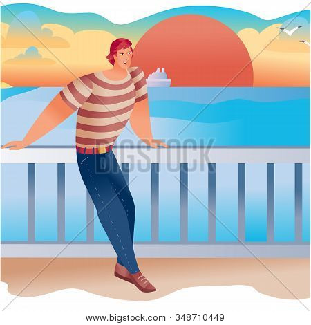 Man Standing On The Embankment With His Hands On The Railing, Back To The Setting Red Sun And Blue S