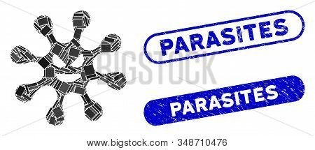 Mosaic Evil Bacteria And Corroded Stamp Seals With Parasites Text. Mosaic Vector Evil Bacteria Is Co