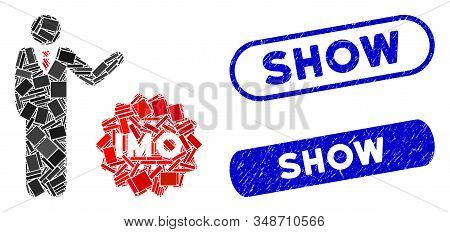 Mosaic Businessman Show Imo Token And Distressed Stamp Seals With Show Text. Mosaic Vector Businessm