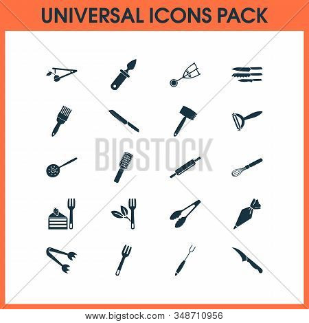 Cutlery Icons Set With Kitchenware, Sharp, Pastry Bag And Other Grater Elements. Isolated Vector Ill