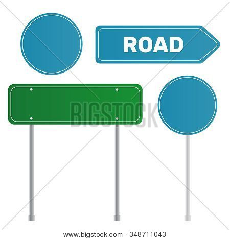 Green Empty Arrow Road Sign. Sign Street. Road Green Vector Sign. Arrow Blank Sign