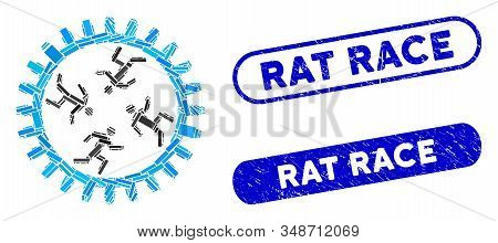 Mosaic Rat Race Gear And Grunge Stamp Seals With Rat Race Phrase. Mosaic Vector Rat Race Gear Is Des