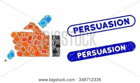 Mosaic Hand Pencil And Corroded Stamp Watermarks With Persuasion Caption. Mosaic Vector Hand Pencil