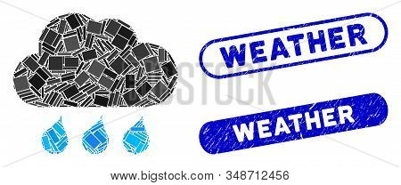 Mosaic Rain Weather And Rubber Stamp Seals With Weather Caption. Mosaic Vector Rain Weather Is Creat