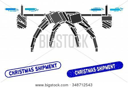 Collage Rotorcraft And Distressed Stamp Seals With Christmas Shipment Caption. Mosaic Vector Rotorcr