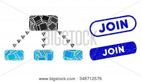 Mosaic Dotted Scheme And Grunge Stamp Seals With Join Phrase. Mosaic Vector Dotted Scheme Is Designe
