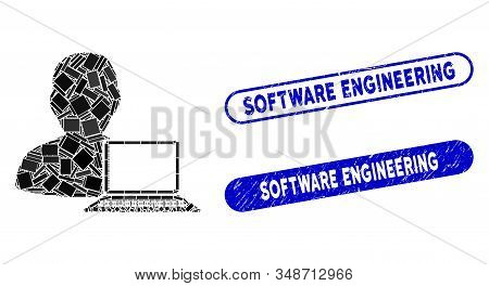 Mosaic Computer Programmer And Rubber Stamp Seals With Software Engineering Phrase. Mosaic Vector Co