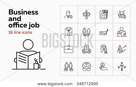 Business And Office Job Icons. Set Of Line Icons On White Background. Brains, Money, Employee, Job.