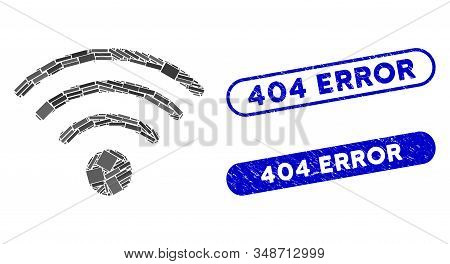 Mosaic Wi-fi Source And Grunge Stamp Watermarks With 404 Error Text. Mosaic Vector Wi-fi Source Is C
