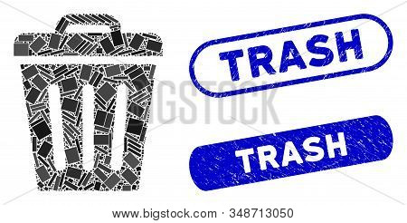 Mosaic Trash Can And Corroded Stamp Seals With Trash Phrase. Mosaic Vector Trash Can Is Composed Wit