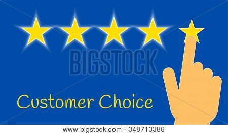 Five Golden Glowing Stars With A Person Hand Clicks A Star On A Blue Background. Satisfied Customer