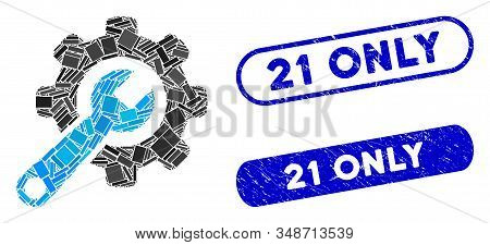 Collage Tools And Corroded Stamp Seals With 21 Only Caption. Mosaic Vector Tools Is Designed With Ra