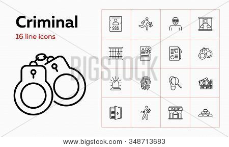Criminal Icons. Set Of Line Icons On White Background. Bank, Jail, Thief. Vector Illustration Can Be