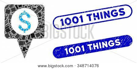 Mosaic Money Map Marker And Distressed Stamp Watermarks With 1001 Things Text. Mosaic Vector Money M