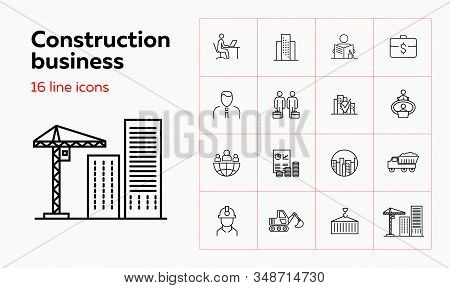 Construction Business Line Icon Set. Set Of Line Icons On White Background.business Concept.office,