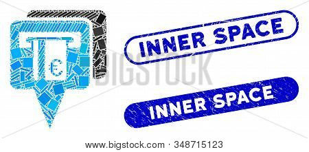 Collage Euro Atm Pointers And Rubber Stamp Seals With Inner Space Caption. Mosaic Vector Euro Atm Po