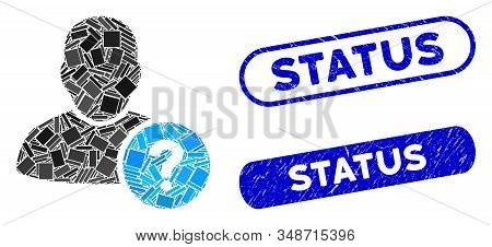 Mosaic User Status And Grunge Stamp Seals With Status Phrase. Mosaic Vector User Status Is Composed