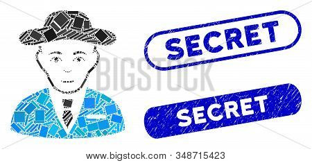 Mosaic Secret Service Agent And Corroded Stamp Seals With Secret Phrase. Mosaic Vector Secret Servic