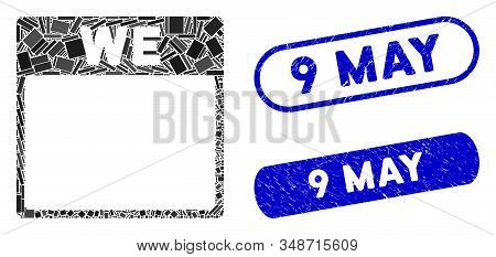 Mosaic Wednesday Calendar Page And Rubber Stamp Watermarks With 9 May Phrase. Mosaic Vector Wednesda
