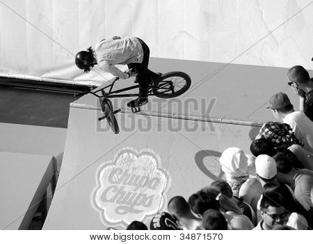 MOSCOW, RUSSIA - JULY 8: Vladislav Melnik, Russia, in BMX competitions during Adrenalin Games in Moscow, Russia at July 8, 2012