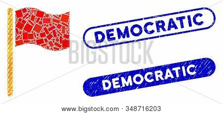 Mosaic Waving Flag And Grunge Stamp Seals With Democratic Text. Mosaic Vector Waving Flag Is Created
