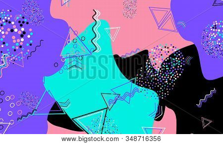 Abstract Fun Background. Colour Shapes Pattern. Splash Fun Background. Vector Illustration.