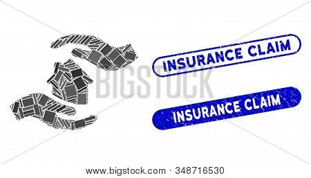 Collage House Care Hands And Rubber Stamp Seals With Insurance Claim Caption. Mosaic Vector House Ca